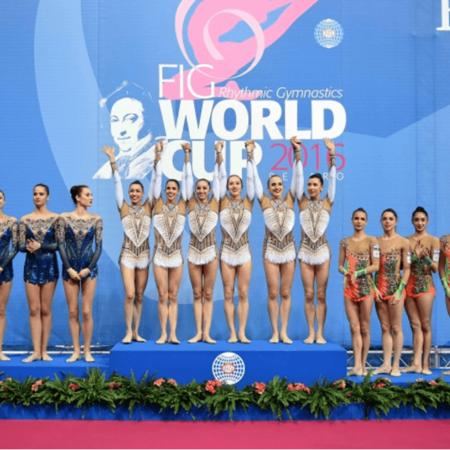 premiazione durante la coppa del mondo di ginnastica artistica