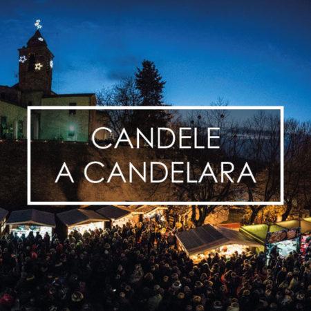 splendida veduta del borgo di Candelara durante l'evento delle candele
